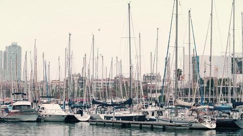 BARCELONA, SPAIN - APRIL, 15, 2017. Steadicam shot of moored sailing boats at Footage