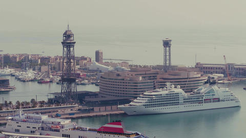 BARCELONA, SPAIN - APRIL, 15, 2017. Moored cruise liner Seabourn Quest at the Footage