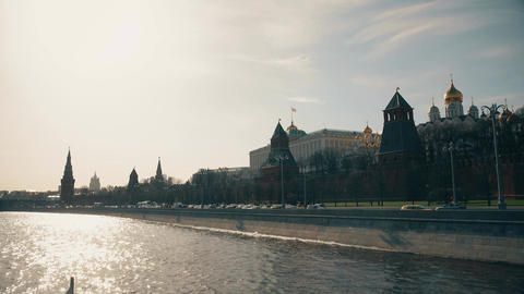 The Moscow Kremlin wall and towers on a sunny day Footage