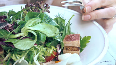 Eating tuna and lettuce Nicoise salad at the restaurant Footage