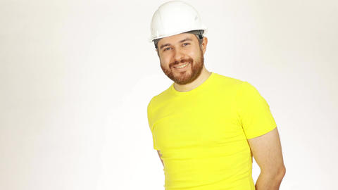 Handsome smiling construction engineer or architect Footage
