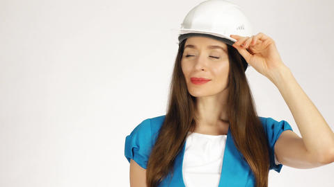 Portrait of smiling female construction engineer or architect Footage