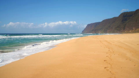 Polihale state park beach with mountains in background Footage