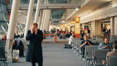WARSAW, POLAND - APRIL, 14, 2017. Steadicam shot of international Chopin airport Footage