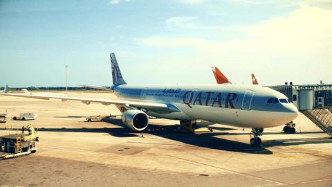 BARCELONA, SPAIN - APRIL, 15, 2017. Steadicam shot of Qatar Airways Airbus Footage
