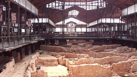 BARCELONA, SPAIN - APRIL, 15, 2017. Archaeological ruins. El Born cultural Footage