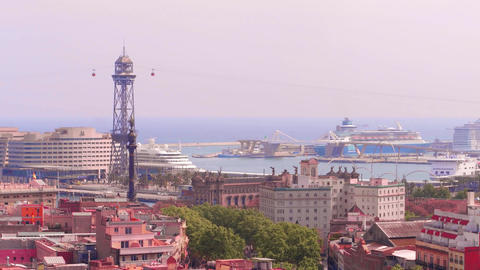 BARCELONA, SPAIN - APRIL, 15, 2017. Port cable car and distant moored cruise Footage