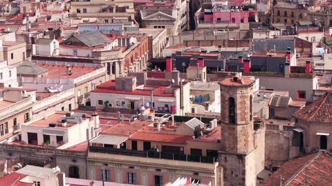 Barcelona residential area rooftops Footage