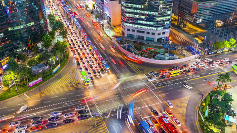 Timelapse Traffic at night in Gangnam City Seoul, South Korea Footage