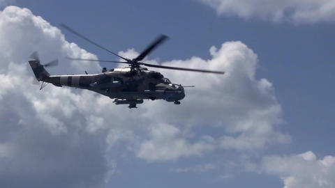 Military Helicopter Flies In Sky Footage