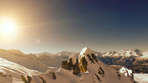 Winter landscape snow mountains aerial view fly over Footage