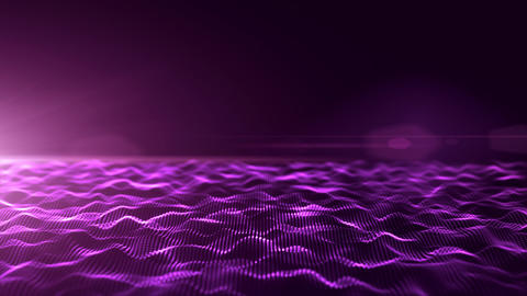 Abstract purple digital waves background with light flare Stock Video Footage