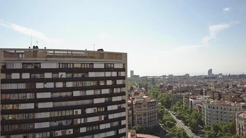 Barcelona cityscape and Arco de Triunfo Triumphal Arch Footage