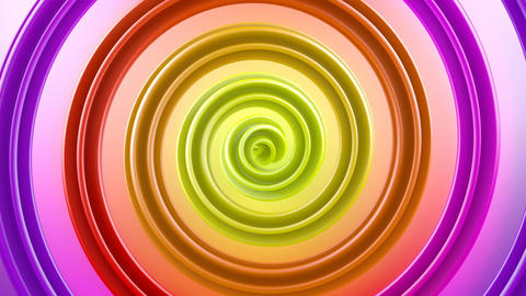 Multicolor spiral shape spins loopable abstract 3D animation Animation