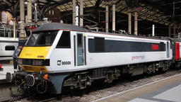 British Rail Class 90 electric locomotive at Liverpool Street station London UK Footage
