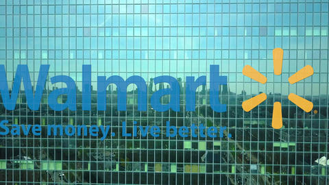 Aerial shot of office skyscraper with Walmart logo. Modern office building Live Action
