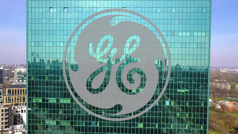 Aerial shot of office skyscraper with General Electric logo. Modern office Live Action