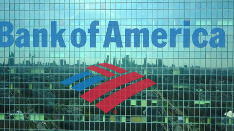 Aerial shot of office skyscraper with Bank of America logo. Modern office Footage