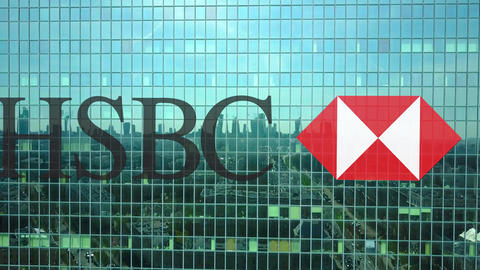 Aerial shot of office skyscraper with HSBC logo. Modern office building Footage
