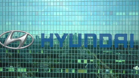 Aerial shot of office skyscraper with Hyundai Motor Company logo. Modern office Footage