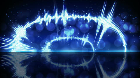 Blue audio waveform techno loopable background Animation
