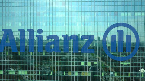 Aerial shot of office skyscraper with Allianz logo. Modern office building Footage