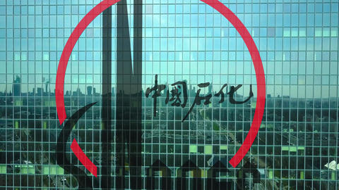Aerial shot of office skyscraper with Sinopec logo. Modern office building Footage
