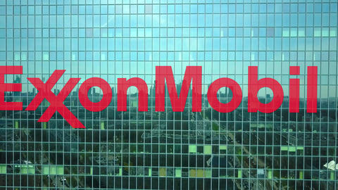 Aerial shot of office skyscraper with ExxonMobil logo. Modern office building Footage