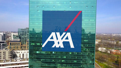 Aerial shot of office skyscraper with AXA logo. Modern office building Footage
