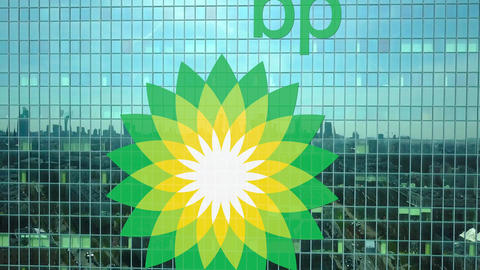 Aerial shot of office skyscraper with BP logo. Modern office building. Editorial Live Action