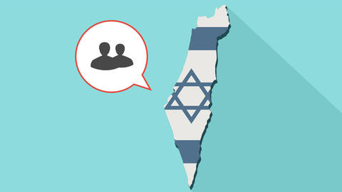 Animation of a long shadow Israel map with its flag and a comic balloon 애니메이션