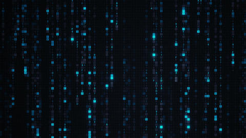 Blue matrix rain of digital HEX code loopable animation Animation