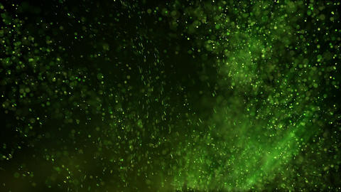 Glowing green particles in turbulent air loopable animation Animation