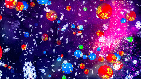 Animation of Falling Abstract Colorful Christmas Balls Animation