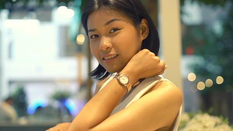 Portrait of beautiful smiling Thai Woman indoor Footage