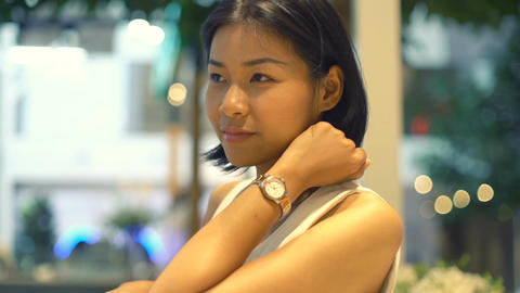 Portrait of beautiful smiling Thai Woman indoor Stock Video Footage