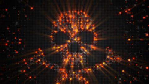 Orange skull symbol of digital HEX code loopable animation Footage