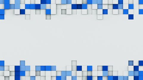 Blue cubes and copy space 3D render animation loopable Footage