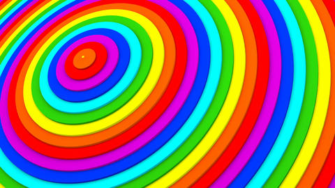 Rainbow gradient concentric rings 3D animation seamless loop Live Action