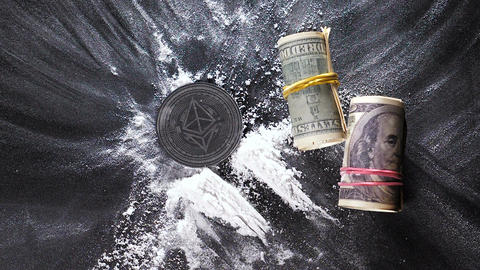 Slow Motion Made by Ethereum Coin Falls on Narcotic Powder Live Action