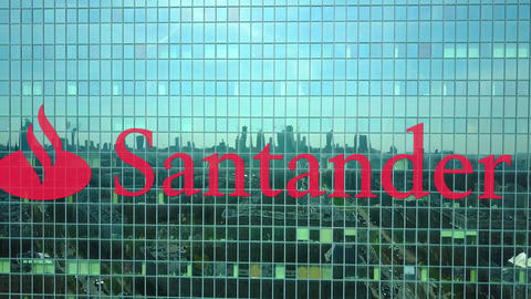 Aerial shot of office skyscraper with Santander Serfin logo. Modern office Live Action