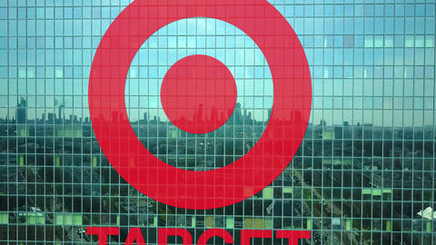 Aerial shot of office skyscraper with Target Corporation logo. Modern office Live Action