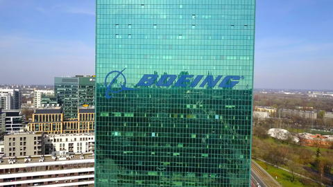 Aerial shot of office skyscraper with Boeing Company logo. Modern office フォト