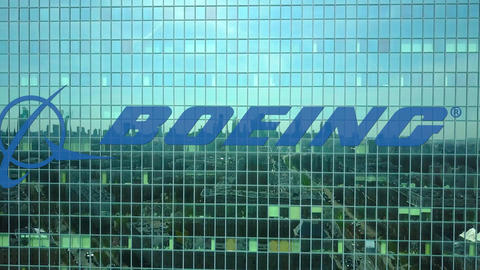 Aerial shot of office skyscraper with Boeing Company logo. Modern office Live Action