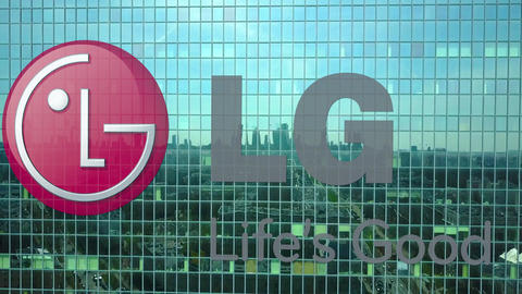 Aerial shot of office skyscraper with LG Corporation logo. Modern office Footage