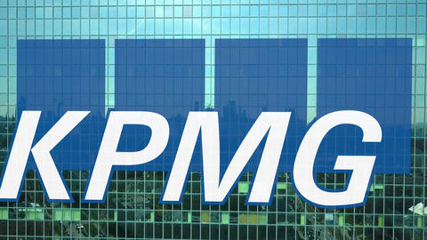 Aerial shot of office skyscraper with KPMG logo. Modern office building Footage