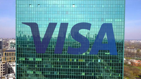 Aerial shot of office skyscraper with Visa Inc. logo. Modern office building Footage
