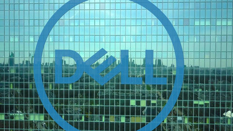 Aerial shot of office skyscraper with Dell Inc. logo. Modern office building Footage