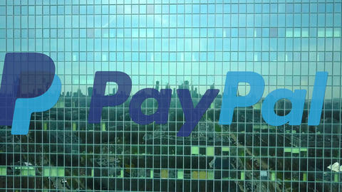 Aerial shot of office skyscraper with PayPal logo. Modern office building Footage