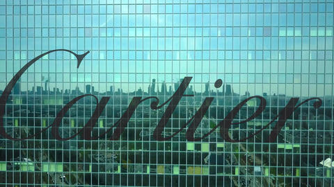 Aerial shot of office skyscraper with Cartier logo. Modern office building Footage